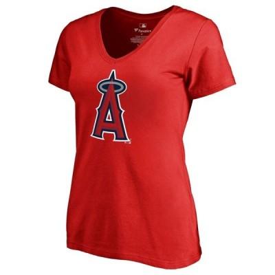 ファナティクス ブランデッド レディース Tシャツ トップス Los Angeles Angels Women's Team Color Primary Logo V-Neck T-Shirt