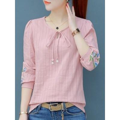 リボン付き シンプル 韓国風 合わせやすい レディース 3色 トップス シャツ