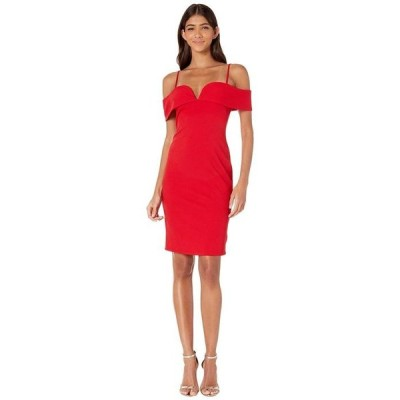 ベベ レディース ワンピース トップス Fold-Over Off the Shoulder Short Dress