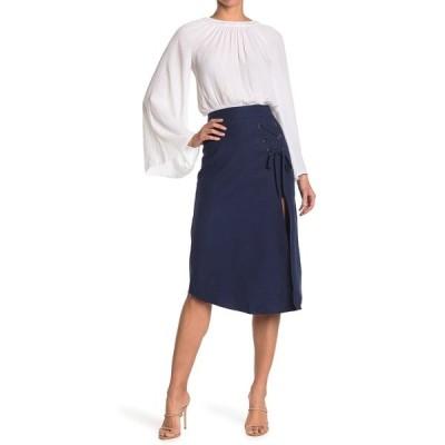 レイミー ブルック レディース スカート ボトムス Faye Grommet Lace-Up Linen Blend Skirt SPRING NAVY