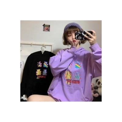 【送料無料】かわいいクマ プリント 薄いスタイル フード付きセーター 女 秋 韓国風 | 364331_A63598-5082161