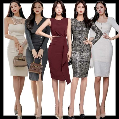 韓国ファッション 高品質ワンピースドレス OL正式な場合礼装ドレスセクシーなワンピース一字肩二点セット/パーティードレス 結婚式