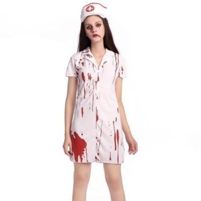 L ゾンビ ナース コスプレ ハロウィン 衣装 大人 血まみれ ホラー 仮装 スプラッター 看護婦 変装 レディース 看護師