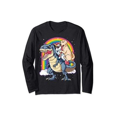 Labrador Unicorn Riding Dinosaur T rex Gifts Women Rainbow 長袖Tシャツ