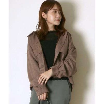 【サロン ハミュー】 フェイクスエード ビッグポケットショートシャツジャケット レディース ブラウン M salong hameu