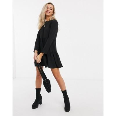 エイソス レディース ワンピース トップス ASOS DESIGN long sleeve tiered smock mini dress in black