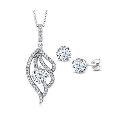 Gem Stone King 3.72 Ct White Created Sapphire 925 Sterling Silver Pendant Earrings Set