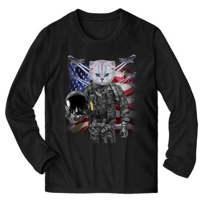【白いペルシャ猫 ねこ パイロット 星条旗 アメリカ】メンズ 長袖 Tシャツ by Fox Republic
