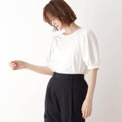シューラルー SHOO-LA-RUE ひんやり袖ギャザーTシャツ (オフホワイト)