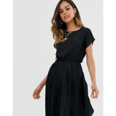 ニュールック レディース ワンピース トップス New Look pleated midi dress in black Black