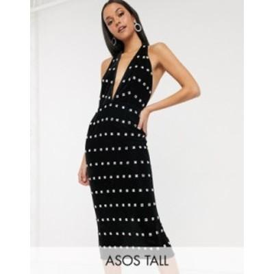 エイソス レディース ワンピース トップス ASOS DESIGN Tall halter neck velvet embellished midi dress Black