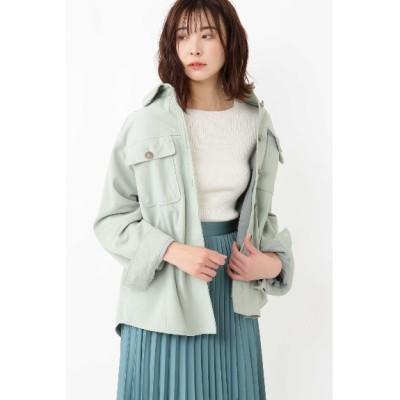 JILLSTUART (ジルスチュアート) レディース ◆モリースエードシャツジャケット GREEN(140) FR