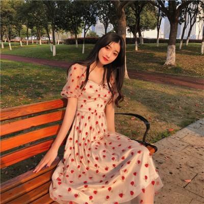 👍めっちゃかわいい!🌹 2019  新 刺繍 ストロベリー チュールスカート 半袖 ゆったりする カジュアル  sweet系 可愛い 小さい新鮮な 中・長セクション ワンピース ロングスカート