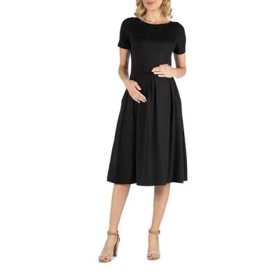 24セブンコンフォート ワンピース トップス レディース Maternity Midi Dress with Short Sleeve and Pocket Detail Black