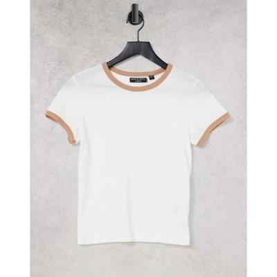 ブレーブソウル レディース Tシャツ トップス Brave Soul claudia ringer T-shirt in white White