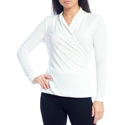ダナキャラン レディース Tシャツ トップス New York Classic Faux Wrap Crepe Jersey Long Sleeve Top