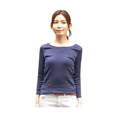 [アスペルシオ] Uネック 8分丈 コットン フライス Tシャツ レディース (ネイビー 4L)
