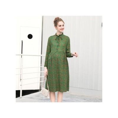 フローラル グリーン マタニティドレス フォーマル パーティードレス お呼ばれドレス kh-1111