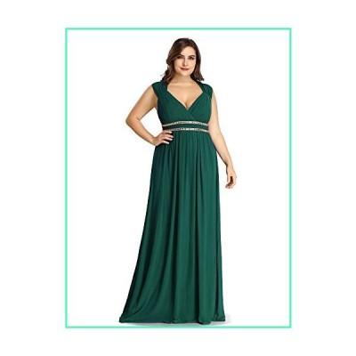 Ever-Pretty Women's Plus Size V-Neck Cap Sleeve Wedding Bridesmaid Dresses Green US20並行輸入品