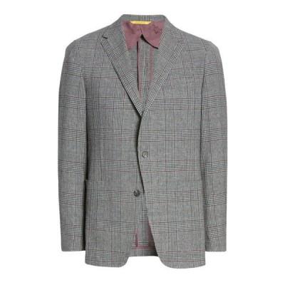 ヒッキーフリーマン メンズ ジャケット&ブルゾン アウター Classic Fit Wool Blend Plaid Sport Coat MED. GREY