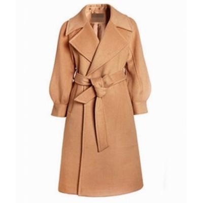 レディース トレンチコート ウール コート アウター ピンク ベージュ ホワイト ブラウン 小さいサイズ 送料無料