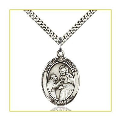 Sterling シルバー メンズ Patron Saint Medal of ST. JOHN of GOD - Includes 24 Inch Heavy Curb チェーン - Deluxe Gift Box Included