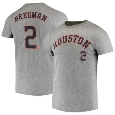 マジェスティックスレッズ Tシャツ トップス メンズ Alex Bregman Houston Astros Majestic Threads Name & Number TriBlend TShirt Heathered Gray