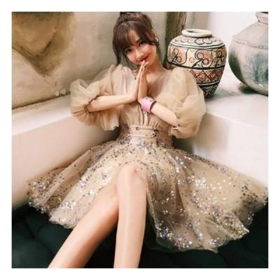 演奏会用 ロングドレス ドレス ロング パーティードレス ワンピース 結婚式 およばれ 袖あり ミニ丈 大きいサイズ シフォン素材 スパンコール バルーンスリーブ