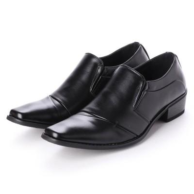ジーノ Zeeno ビジネスシューズ 靴 メンズ 紳士靴 フォーマル ナナメストレートチップ スリッポン シークレットシューズ ロングノーズ (ブラック)