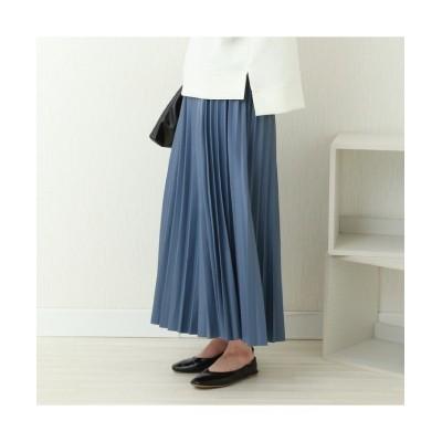 【アールエムストア】 フェイクレザープリーツスカートNEW 2021春バージョン レディース ブルー M RM STORE