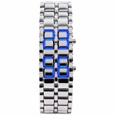 腕時計  メンズ カジュアル シンプル ユース スポーツウォッチ 電子バイナリ デジタル LED 溶岩合金 長方形チェーンウォッチ メンズ シル
