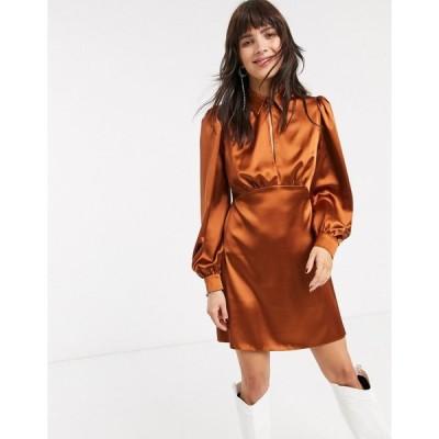 エイソス ミディドレス レディース ASOS DESIGN mini satin tea dress with collar エイソス ASOS