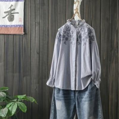 韓国 ファッション レディース 夏 刺繍ブラウス デザインシャツ レディーストップス 春夏 スタンドカラー デザイントップス キレイ目 ス