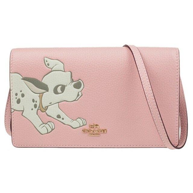 美國正品COACH F91188迪士尼系列聯名款- 黑色桑普兔、粉色101忠狗、小飛象 WOC (荔枝紋全真皮) iPhone手機包 斜背包 手拿包-- (正品Outlet 直購100%正品櫃購入)