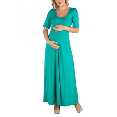 24セブンコンフォート ワンピース トップス レディース Casual Maternity Maxi Dress with Sleeves Green