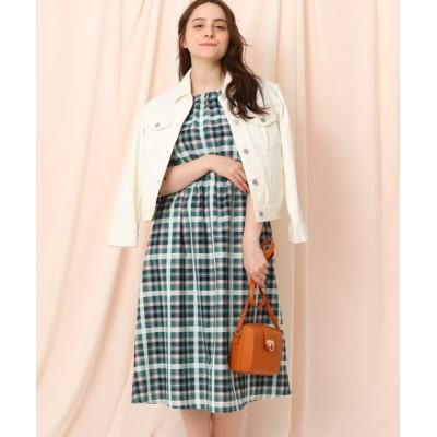 Couture Brooch/クチュールブローチ シャーリングマドラスチェックワンピース ダークグリーン(223) 36(S)