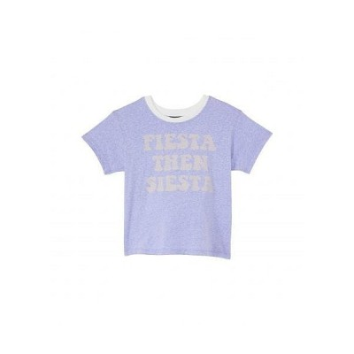 Tiny Whales 女の子用 ファッション 子供服 Tシャツ Fiesta Siesta Text Graphic Boxy T-Shirt (Toddler/Little Kids/Big Kids) - Tri Lavender