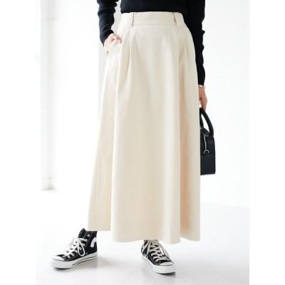 スカート ツイルフレアフロントタックロングスカート ●*