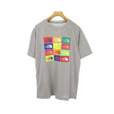 【中古】未使用品 ザノースフェイス THE NORTH FACE NT32049 S/S Colored Half Dome Logos Tee ロゴ プリント Tシャツ 半袖 XL グレー 国内正規品 メンズ