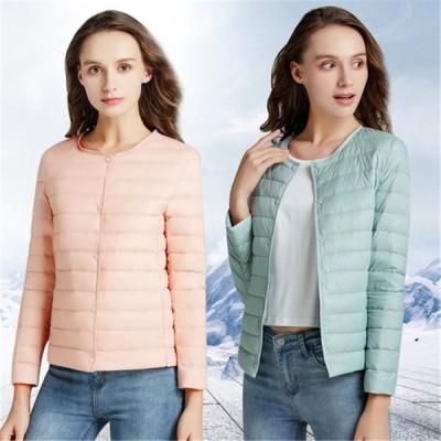 ダウンジャケット Vネックチェンジ可能 ショート レディース 軽量 薄手 ノーカラー シンプル 秋冬 アウター  軽い あったか 暖かい 防寒着