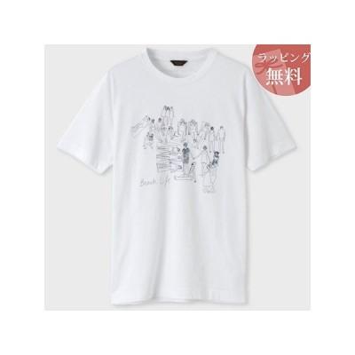 ポールスミス Tシャツ ビーチライフプリント ホワイト L Paul Smith