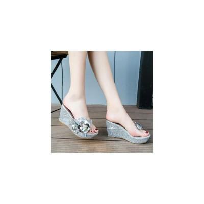 ミュール レディース ウェッジソール 厚底 透明 花柄 スパンコール 履きやすい 歩きやすい 疲れない 8.5cm 美脚 おしゃれ 2020 夏 新作 送料無料