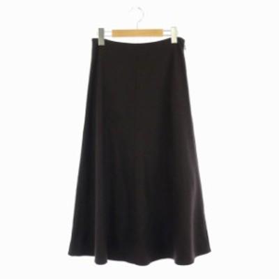 【中古】未使用品 セオリー 19AW Refined Wool Jersey Uthema フレアスカート ロング 0 茶 ダークブラウン レディース