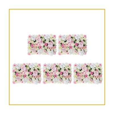 GzxLaY 5Pcs Artificial Flower Wall Wedding Backdrop Hanging Decor Props for Wedding Banquet Arrangement Shop Window Decor, Pink White【並