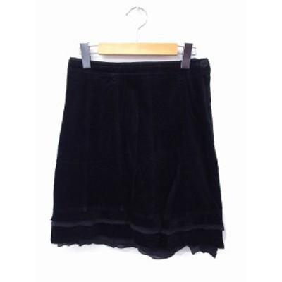 【中古】CHATTAWAK スカート ベロア ティアード コットン 綿 ひざ丈 36 ブラック 黒 /FT34 レディース