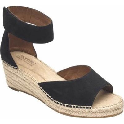 ロックポート レディース サンダル シューズ Women's Rockport Cobb Hill Kairi 2 Piece Ankle Strap Wedge Black Leather