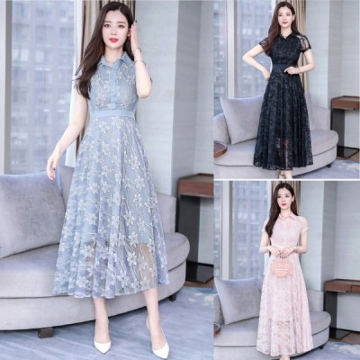 春夏 ドレス ロングドレス ワンピース 花柄 総レース 半袖 大人可愛い Aライン お呼ばれ パーティ