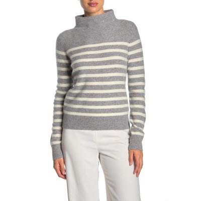 ヴィンス レディース ニット&セーター アウター Brenton Cashmere Stripe Sweater MED H GREY/OFF WHITE