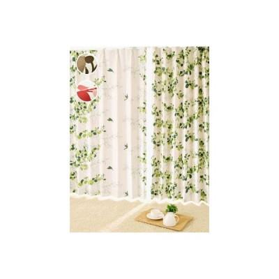 カーテン プリーツ加工 小鳥アシンメトリカルカーテン S 1枚/100サイズ/OUD0821