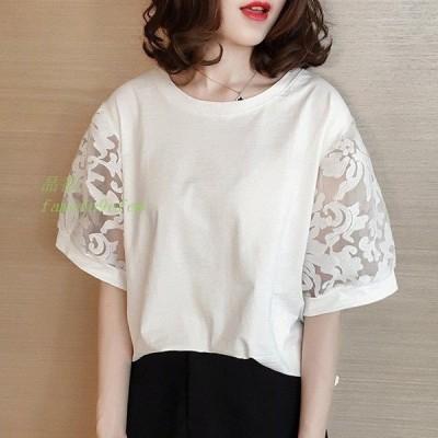 ブラウス レディース tシャツ ブラウス 3色 Tシャツ ブラウス 大人可愛い 白 トップス 韓国風 オフィス 切り替え 夏 オシャレ
